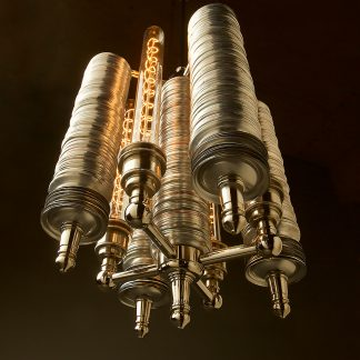 Five tube Can Base Chandelier