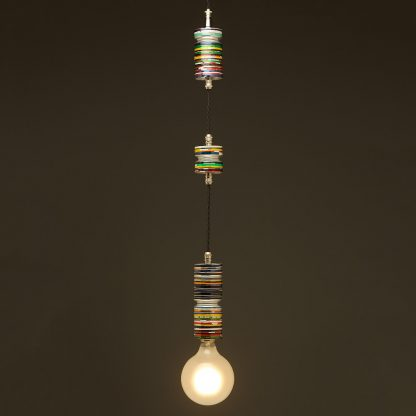 Aluminium can colored base striped pendant light